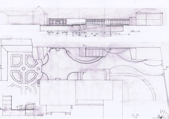 Etudes aménagement du parc de la Villa Trianon, réalisation Hervé Arnoul. Elévations