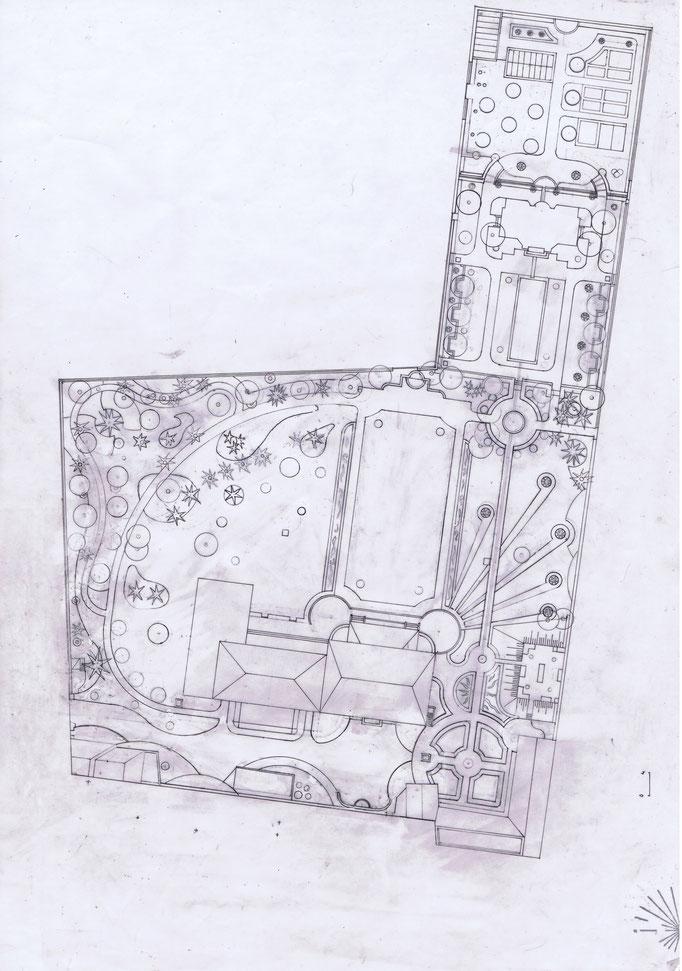 Etudes aménagement du parc de la Villa Trianon, réalisation Hervé Arnoul.Plan.
