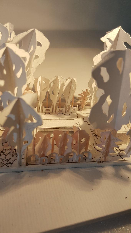 Etudes aménagement du parc de la Villa Trianon, réalisation Hervé Arnoul. Prémaquette.