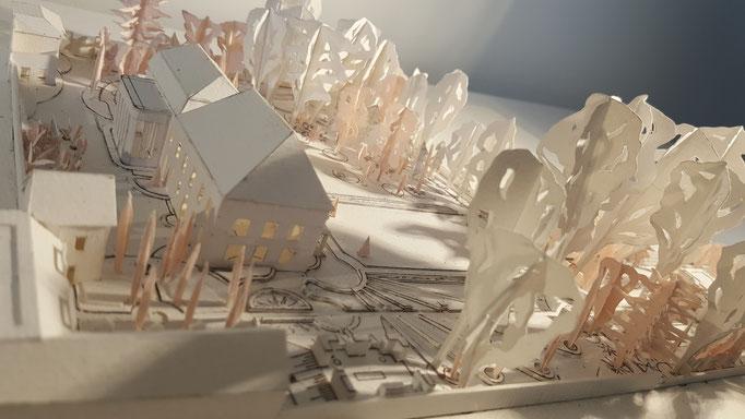 Etudes aménagement du parc de la Villa Trianon, réalisation Hervé Arnoul . Prémaquette.