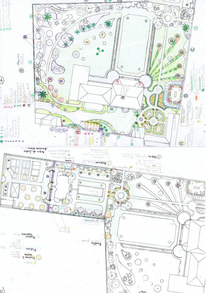 Etudes aménagement du parc de la Villa Trianon, réalisation Hervé Arnoul Etude vegetaux