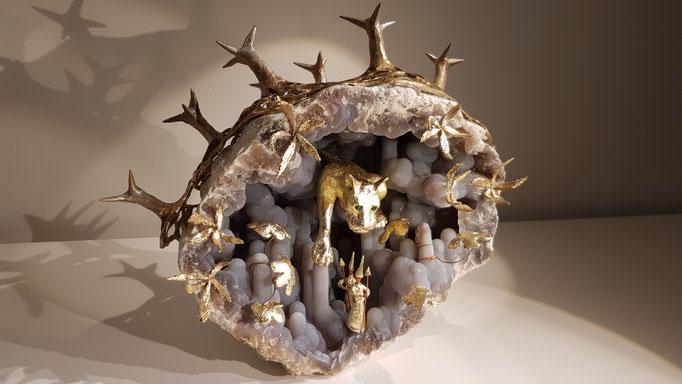 Réponse à une demande de creation  de décor africain pour habiller une Geode, River River Genève. Creation et réalisation Hervé Arnoul.