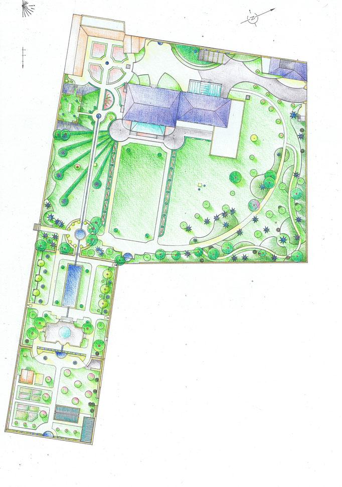 Etudes aménagement du parc de la Villa Trianon, réalisation Hervé Arnoul. Plans