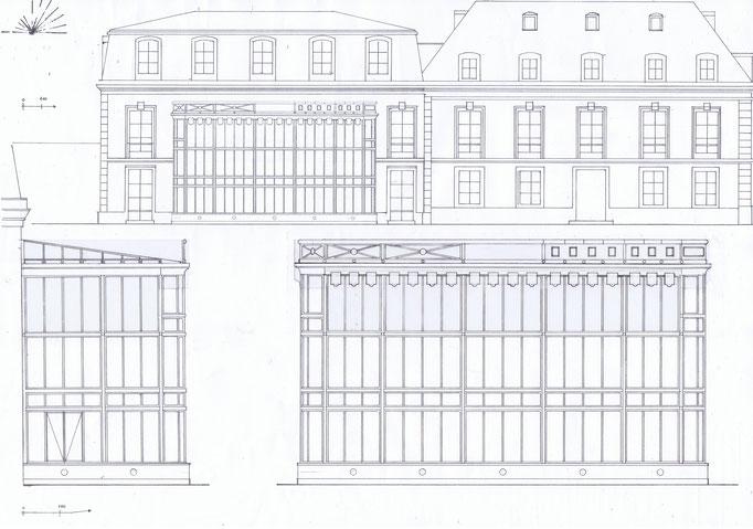 Etudes aménagement du parc de la Villa Trianon, réalisation Hervé Arnoul.Elevation serre.