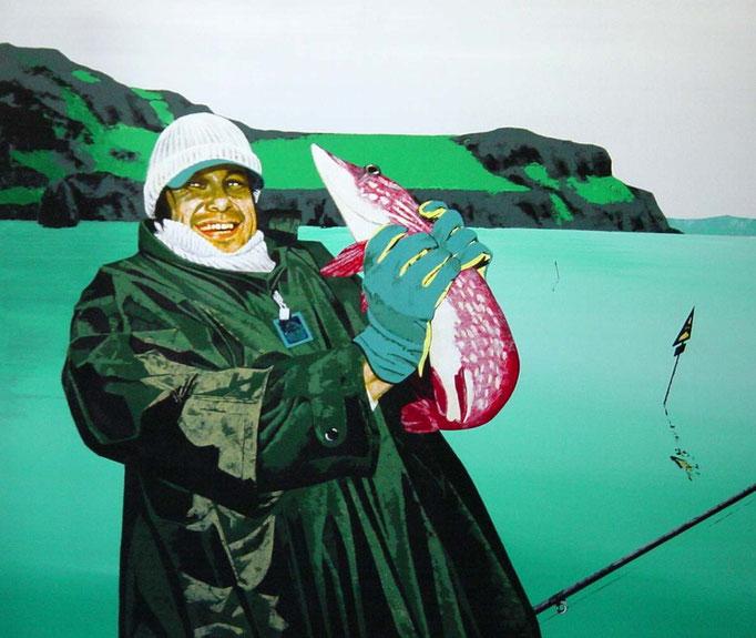 des Fischers wahre Freude, 1997, Acrylic on Canvas, 120 x 140 cm