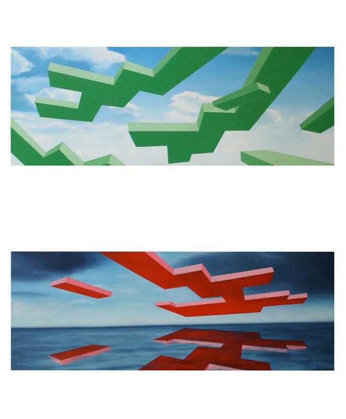 Himmelszeichen_01-02, 2012, Oil on Canvas, a 40 x 110 cm