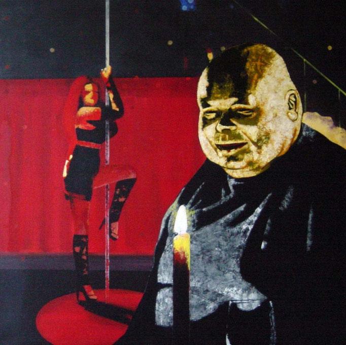 der Stammgast, 1998, Acrylic on Canvas, 80 x 80 cm