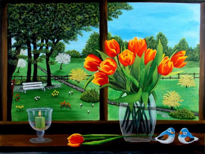 Frühling zieht über das Land, 60 x 80cm, Patricia Leuschen