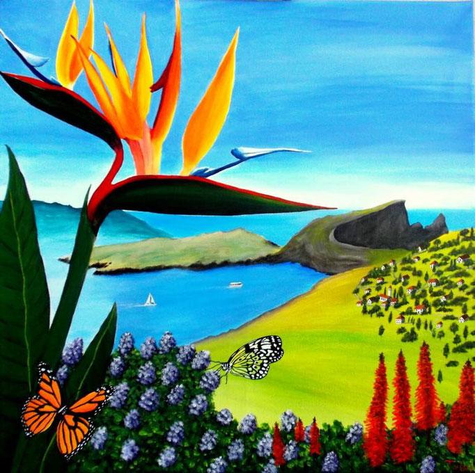 Strelizie mit Landschaft, 60 x 60cm, Patricia Leuschen