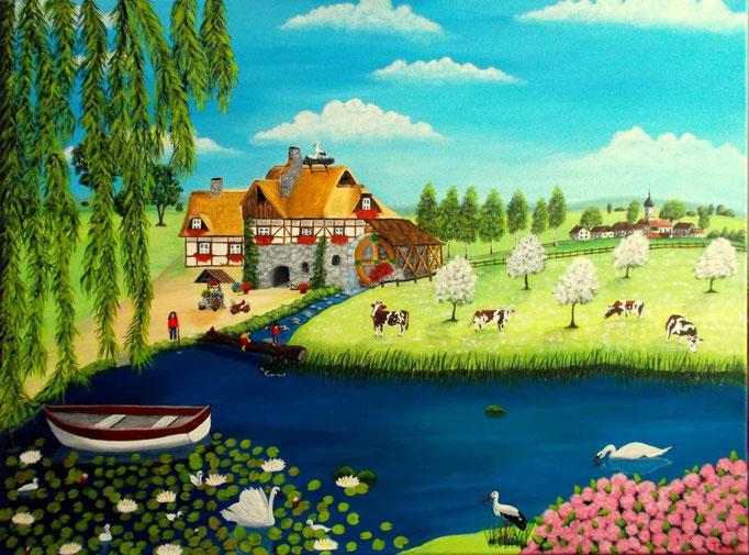 Wassermühle 60 x 80cm, Patricia Leuschen
