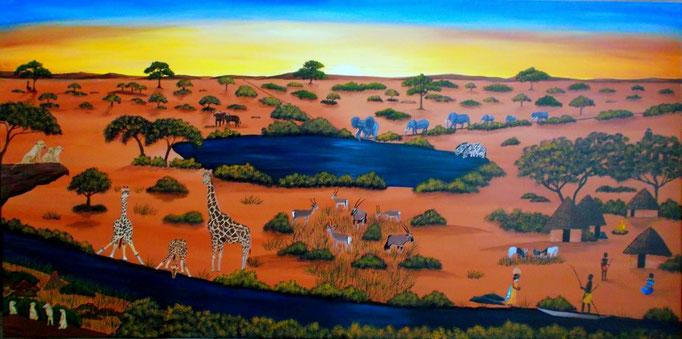 African Wildlife, 60 x 120cm, Patricia Leuschen