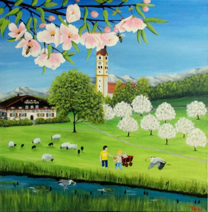 Kirschblüte, 60 x 60cm, Patricia Leuschen