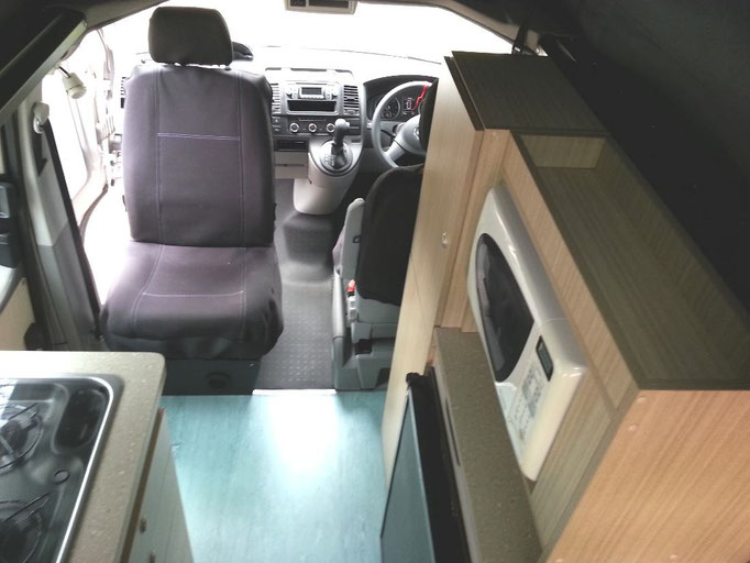 view from front to rear in SWB T5 camper conversion