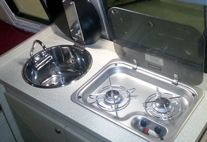 2 burner LPG cramer stove and round sink