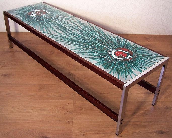 Longue table basse rectangulaire, céramique vintage