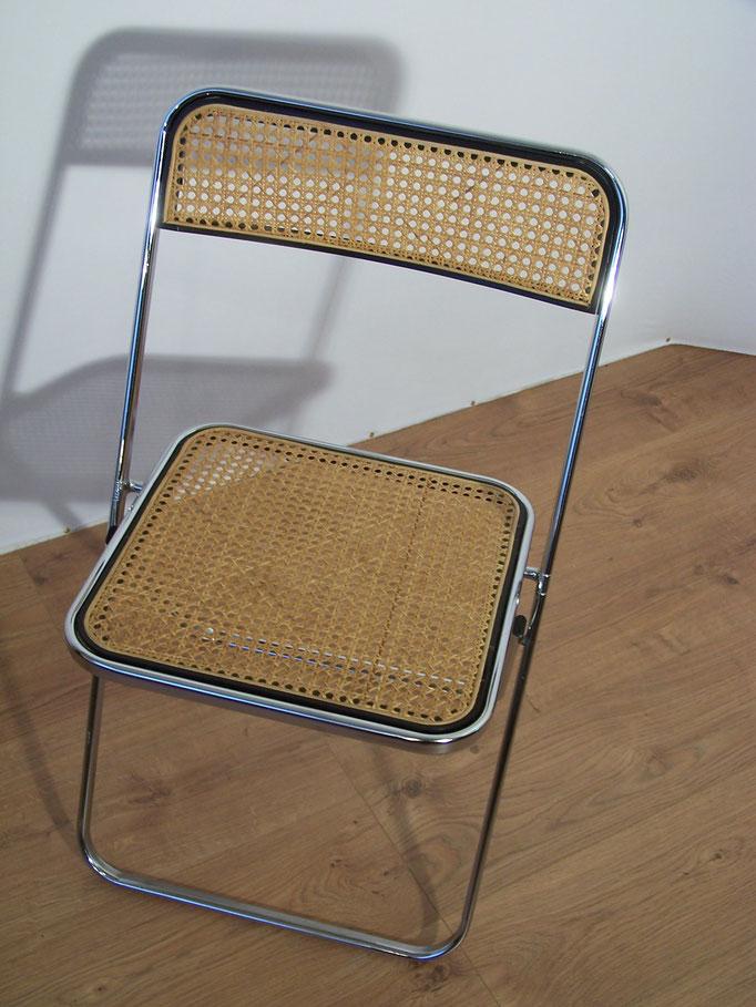 Chaise vintage pliante chromée et cannée, style Plia, Cesca