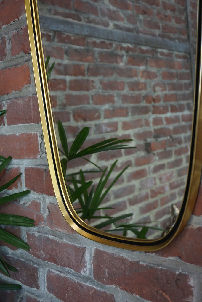 Grand miroir rétroviseur laiton liseret noir 1950-60