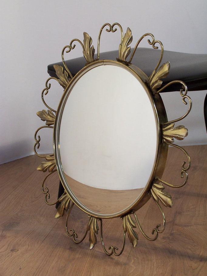 Miroir de sorcière en métal 1950