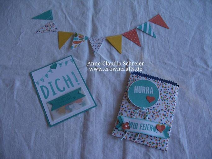 Diese Geburtstagskarte mit passender Mini-Girlande gefällt mir auch super gut. Sie ist von Cornelia Mayer - leider auch ohne Blog!