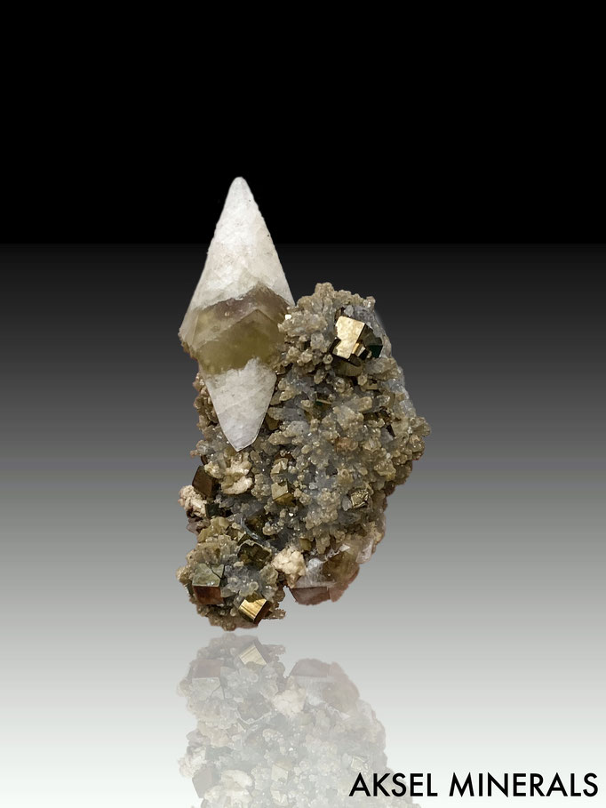 AM615 - Calcite sur Quartz et Pyrite - Daye Co., Huangshi, Hubei, China - 75x40mm