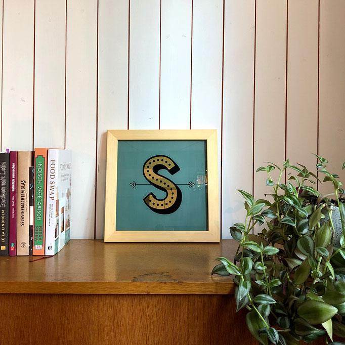 Personalsierbares Geschenk: Bild mit Buchstabe in Echtgold
