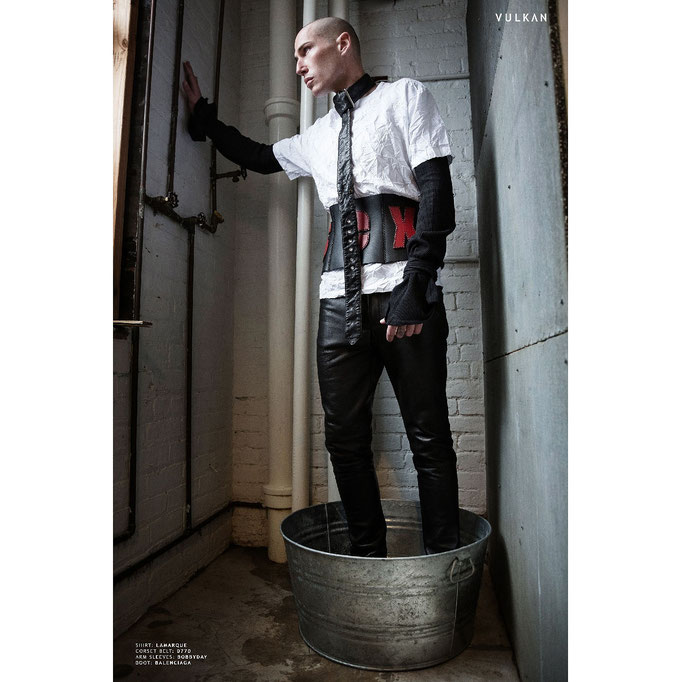 The SEX leather corset-belt featured in @vulkanmag- PH: Anna Grodskaya & Danila Romankov  MODEL: Michael Patrick @ New York Model Management STYLIST: @andrejrose  STYLE ASSISTANT: Chris Angel & Josh Bass