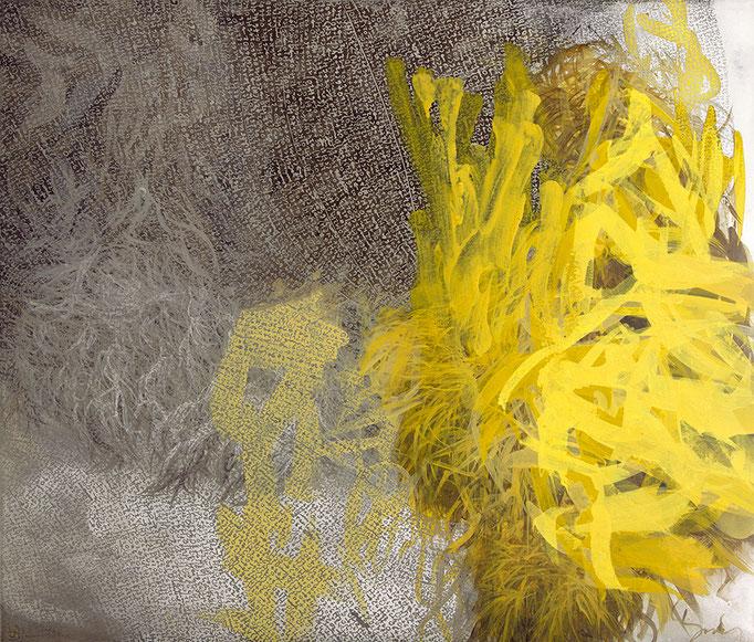 Microflower, 2017, Acryl, Öl, Metall auf Leinwand, 60x70cm