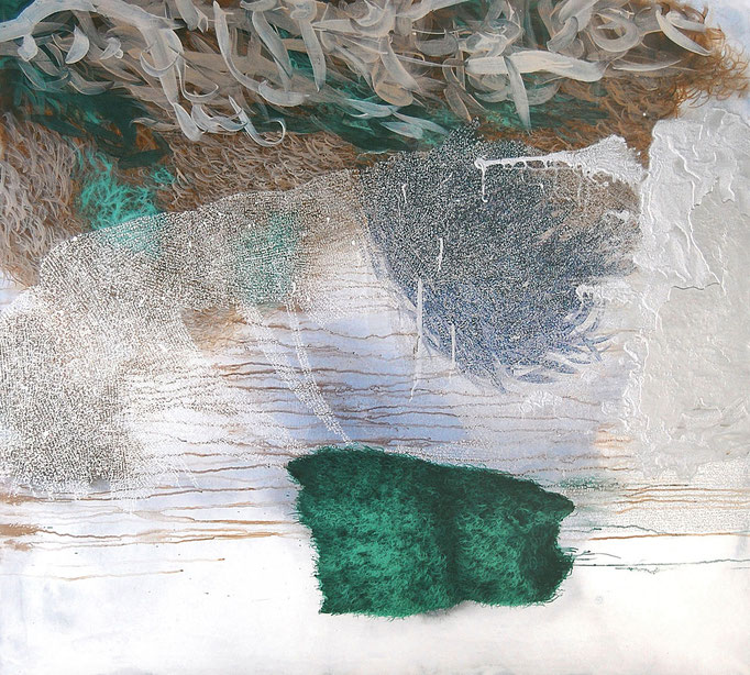 Implant, 2014, Aquarell, Acryl, Öl auf Leinwand, 135x150cm