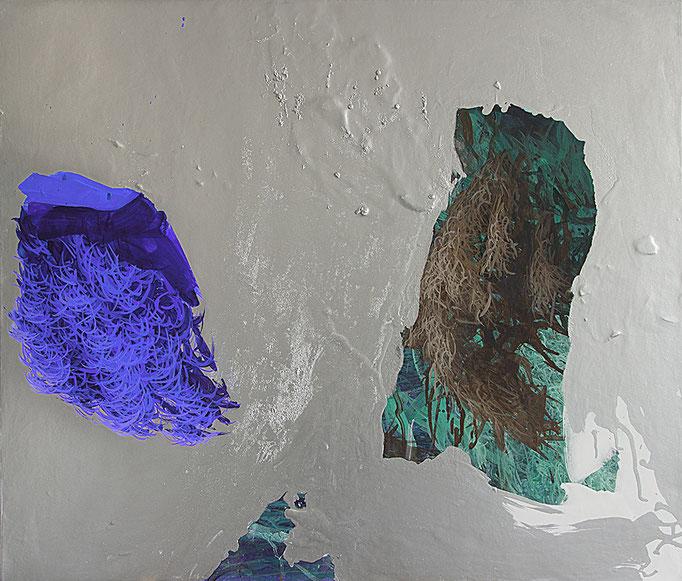 Copynature, 2015, Acryl, Öl, Metall auf Leinwand, 80x90cm