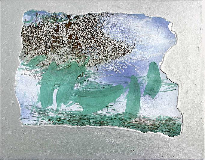 Copynature, 2014, Acryl,Öl, Aluminium auf Leinwand, 40x50cm