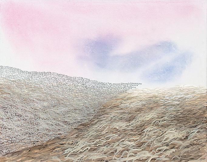 Copynature, 2014 (Im Märzen der Bauer...), Acryl, Öl, Metall auf Leinwand, 40x50cm
