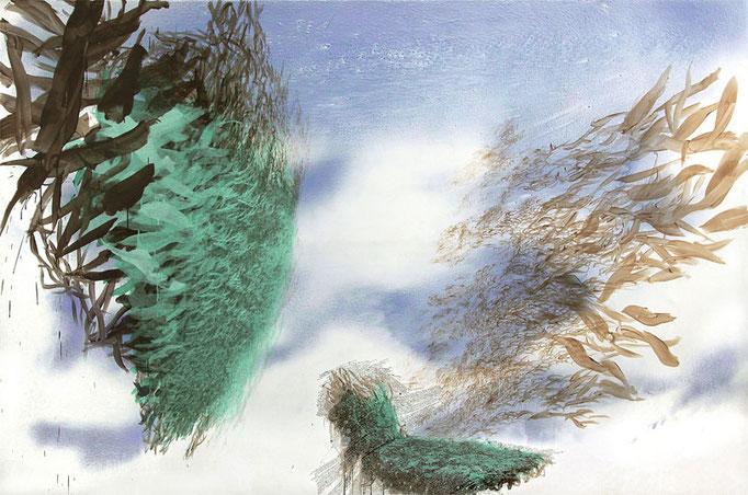 Arkadien, 2014, Acryl, Öl, Aluminium auf Leinwand, 200x300cm