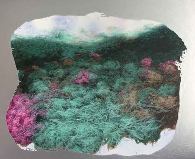 Arkadien, 2017, Aquarell, Acryl, Öl, Metall auf Leinwand, 140x170cm