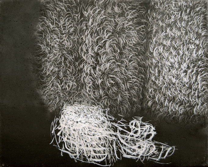 Halbabstraktes Bild II, 2008, Acryl, Kreide auf Leinwand, 40x50cm