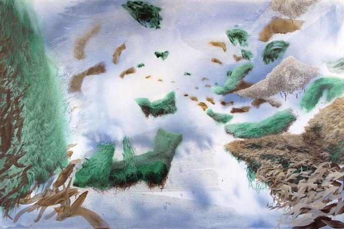 Copynature, 2015, Acryl, Aquarell Öl, Aluminium auf Leinwand, 200x300cm