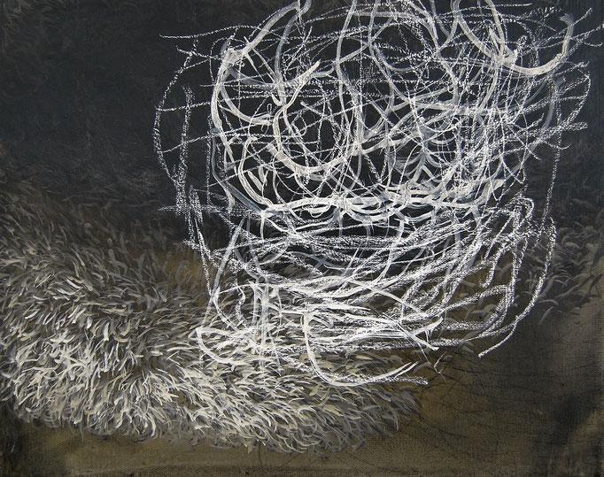 Halbabstraktes Bild III 2008, Acryl, Kreide auf Leinwand, 40x50cm