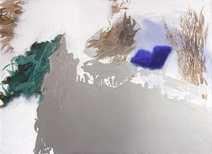 Arkadien 2015, Aquarell, Acryl,Öl, Metall auf Leinwand, 100x135cm