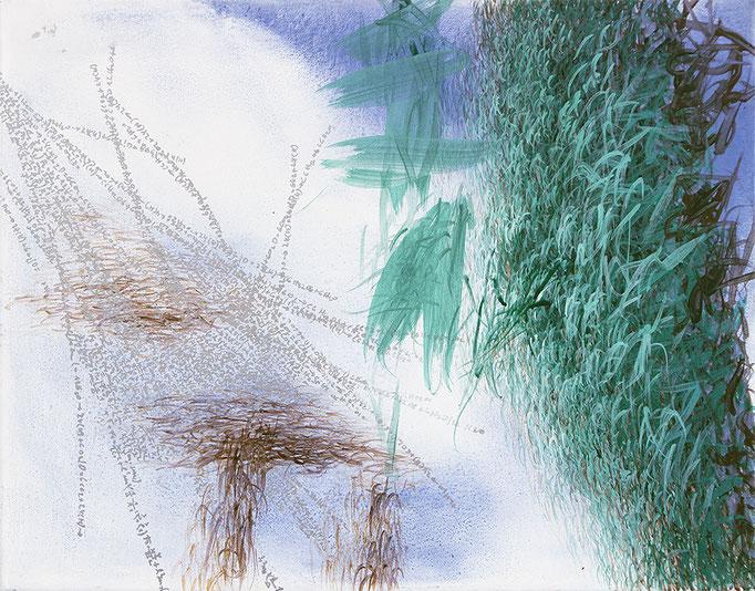 Copynature, 2013, Aquarell, Acryl, Öl Metall auf Leinwand, 40x50cm