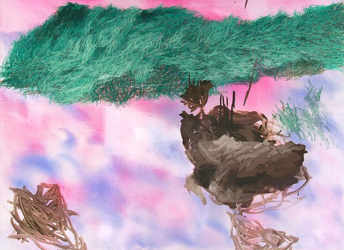 Romantic View (Hommage an Caspar David Friedrich), 2017, Aquarell, Polymerwasserlack, Acryl auf Leinwand, 100x135cm