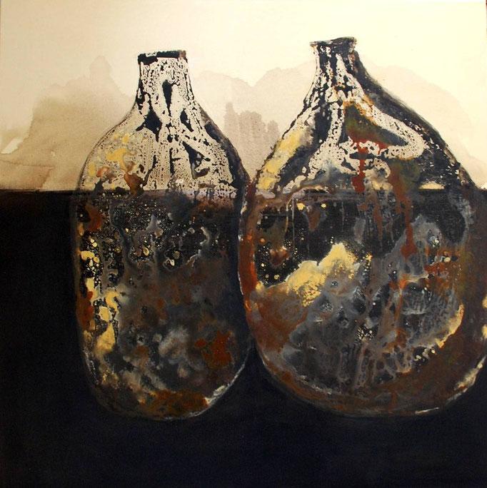 vases rouillés - tech. mixte - 100x100