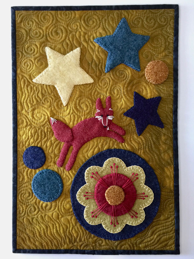 "Mini-art quilt (16x22"") quilted cotton with 100% wool felted hand-embroidered embellishments"