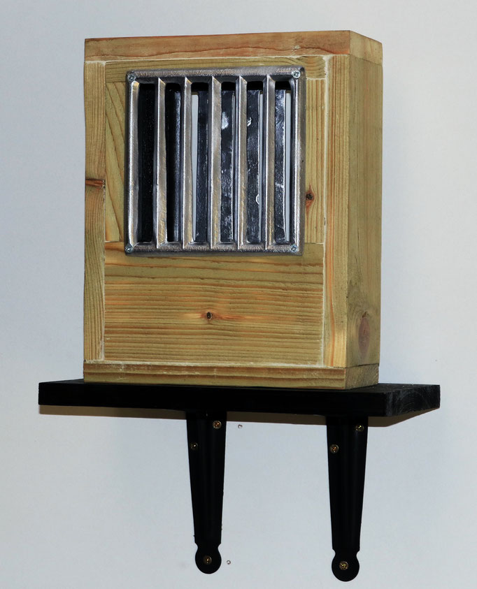 Title:Prisoner of Conscience Medium: Aluminium & Timber. 28 x 9.5 x 22 cm 2019