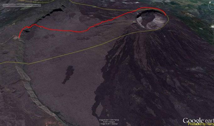 unsere Kratertour (rot) - ca. 5h hin und zurück