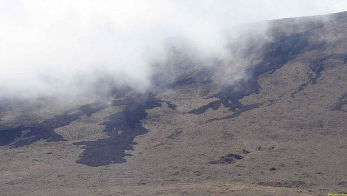 die schwarzen Klecken sind Spuren des Ausbruchs 2010