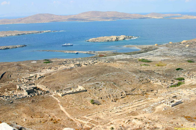 die Insel Delos - vom Berg hat man eine gute Übersicht, wie alles aussah