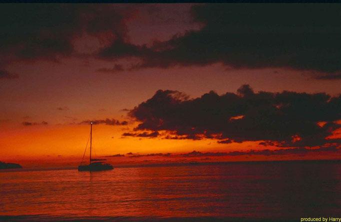"Sonnenuntergang am ""Beau Vallon Bay"""