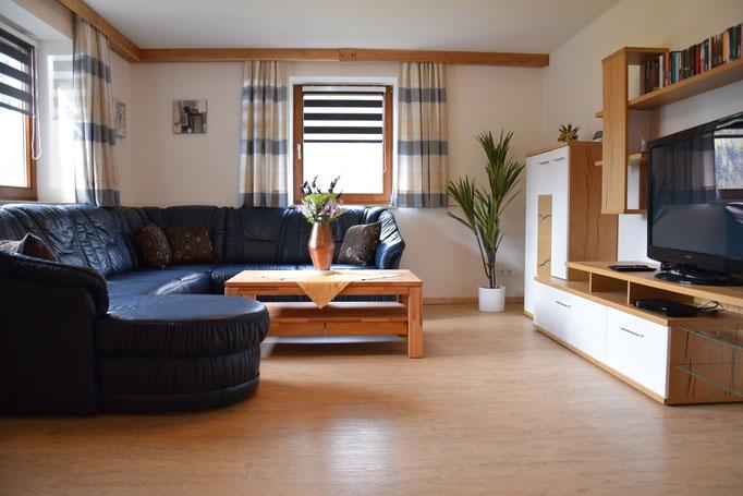 Der helle Wohnbereich mit TV und ausziehbarer Liegefläche für 2 Personen