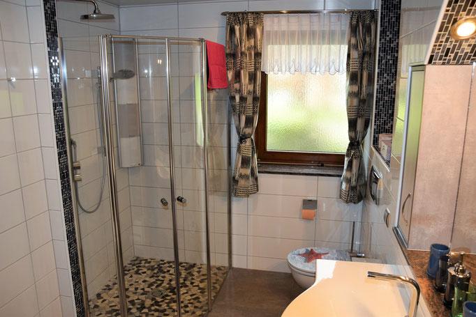 Das Badezimmer mit Dusche und Waschmaschine. Auch ein weiteres WC befindet sich in der Wohnung.