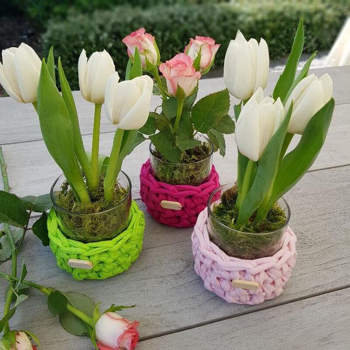Windlichte Ylvie bepflanzt Tulpen