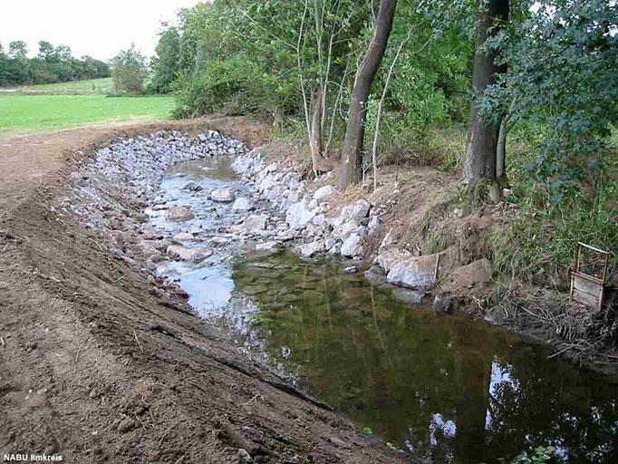 Die Sohlengleite in der Wipfra kurz nach der Fertigstellung. Sie beliefert das Feuchgebiet mit Wasser.